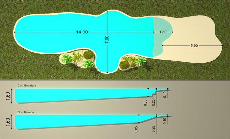 Dise o piscinas de arena la playa for Plano piscina