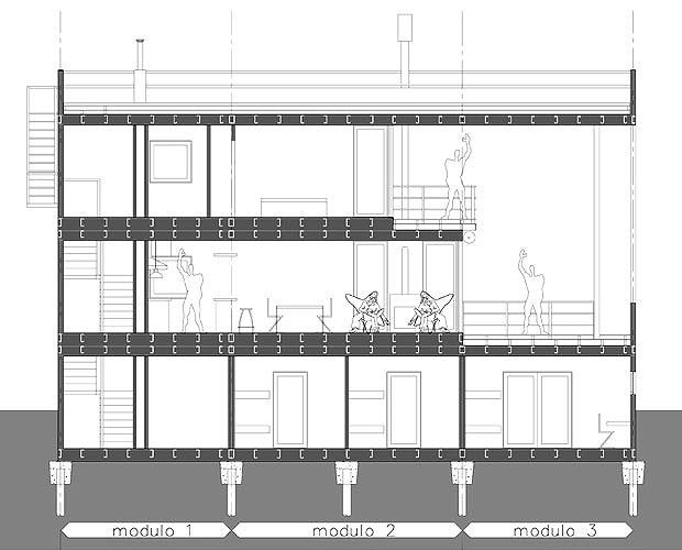Proyecto casa de playa en mar azul for Cortes arquitectonicos