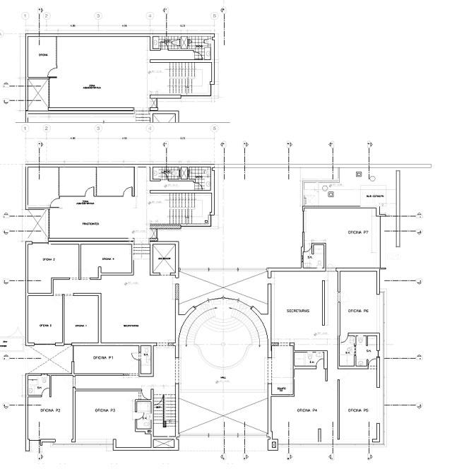 Proyecto estudio de abogados lima for Oficinas planta arquitectonica