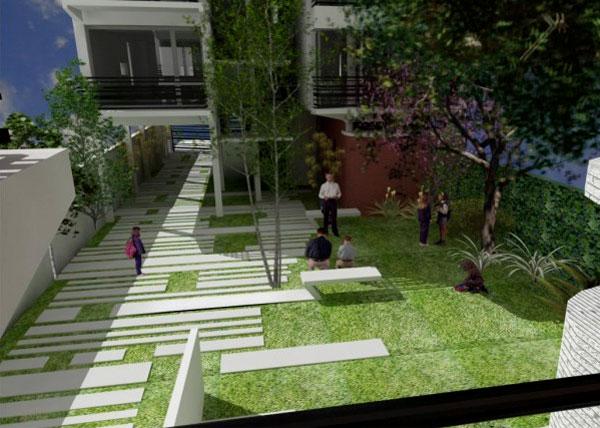 Proyecto edificio de viviendas for Diseno de patios pequenos fotos