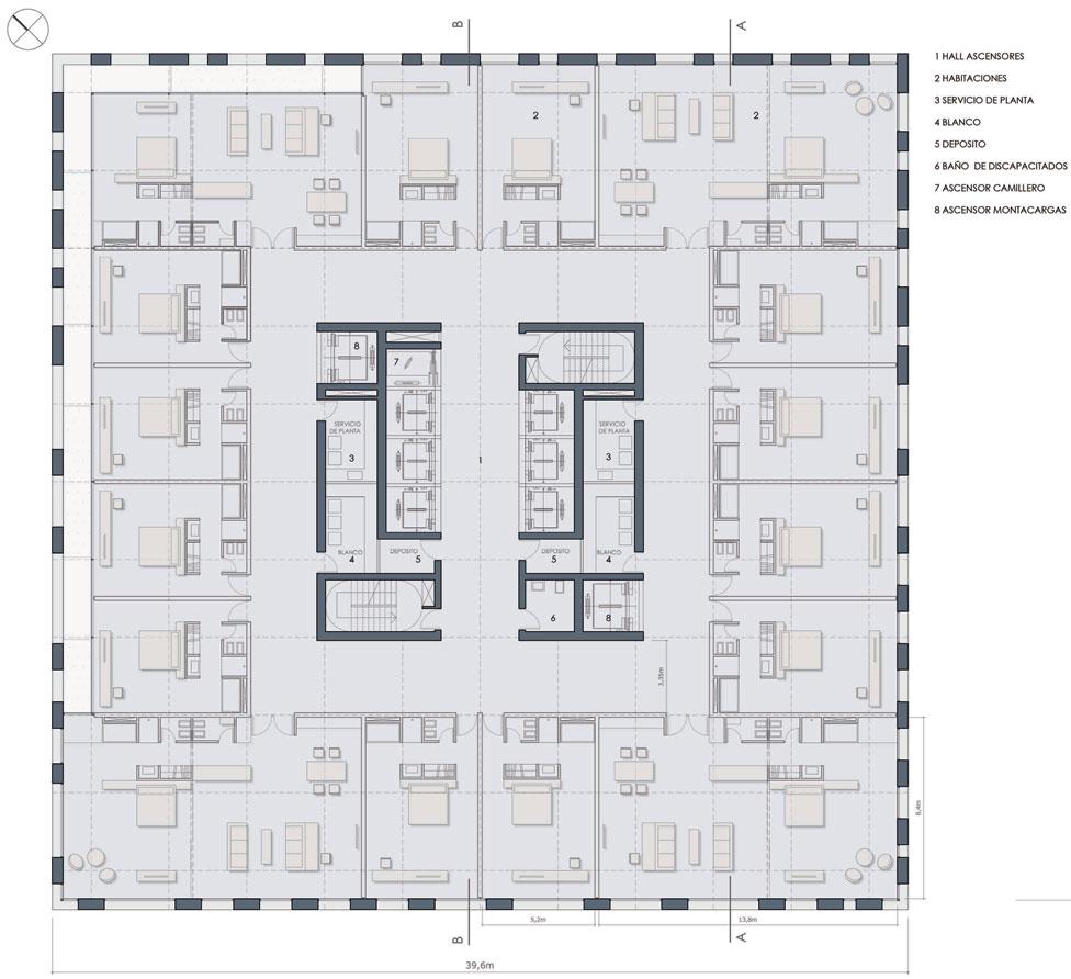 Proyecto torre ciudad vertical for Hoteles en planta