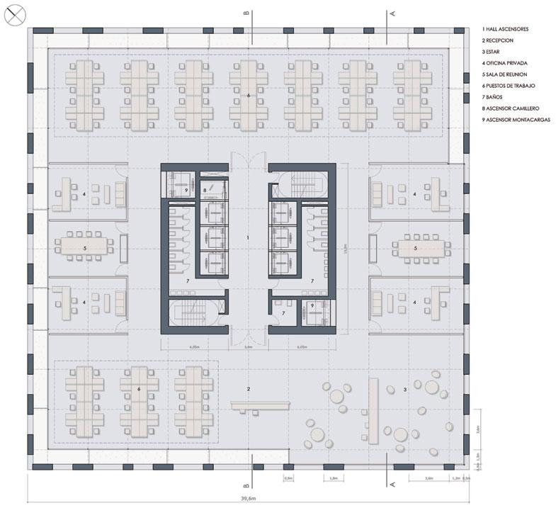 Proyecto torre ciudad vertical for Plantas de oficinas arquitectura