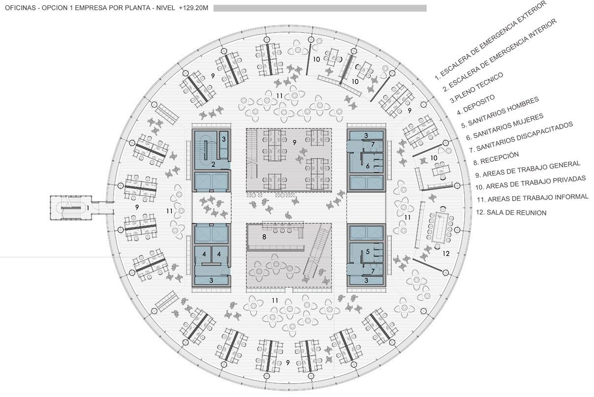 Proyecto proyecto torre unica de for Plantas de oficinas arquitectura