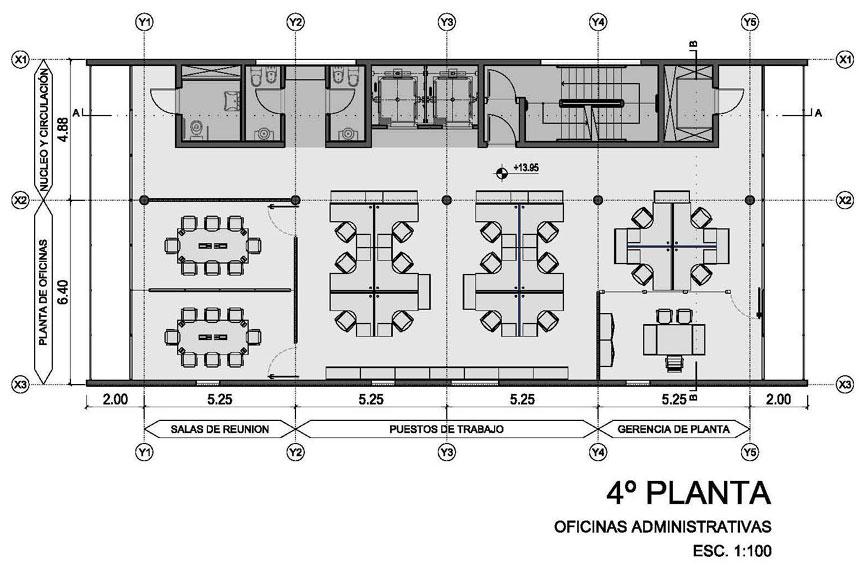Proyecto proyecto edificio central for Planos de oficinas administrativas