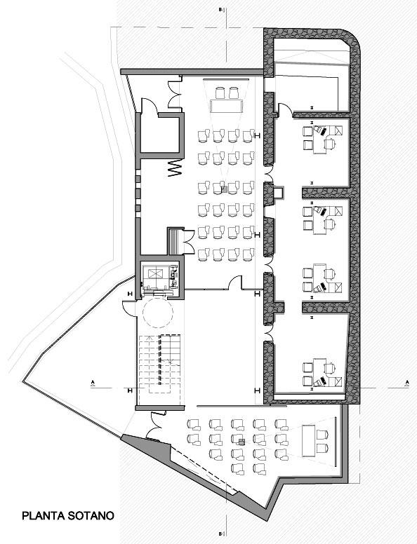 Proyecto oficina de turismo for Plantas de oficinas arquitectura