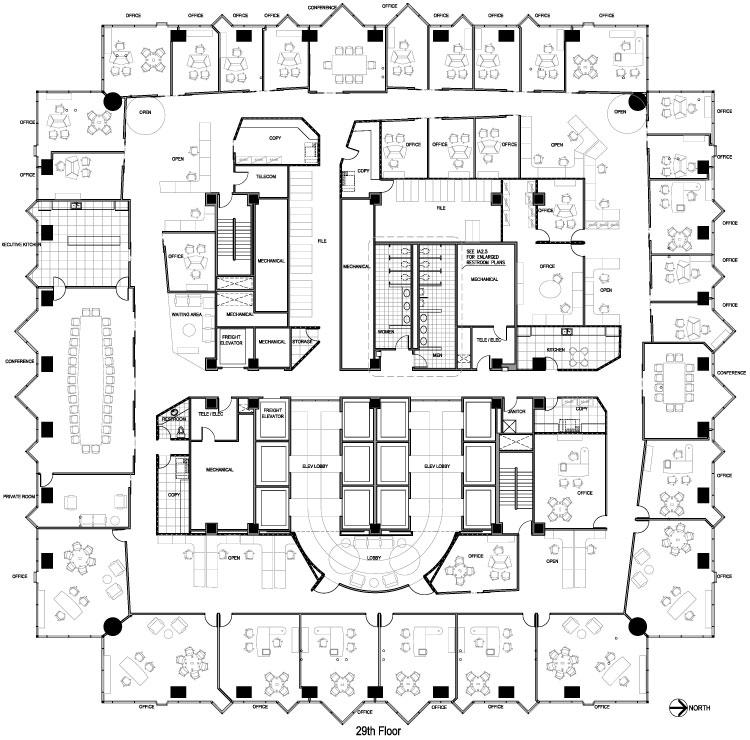 Proyecto oficinas corporativas for Planos de oficinas administrativas