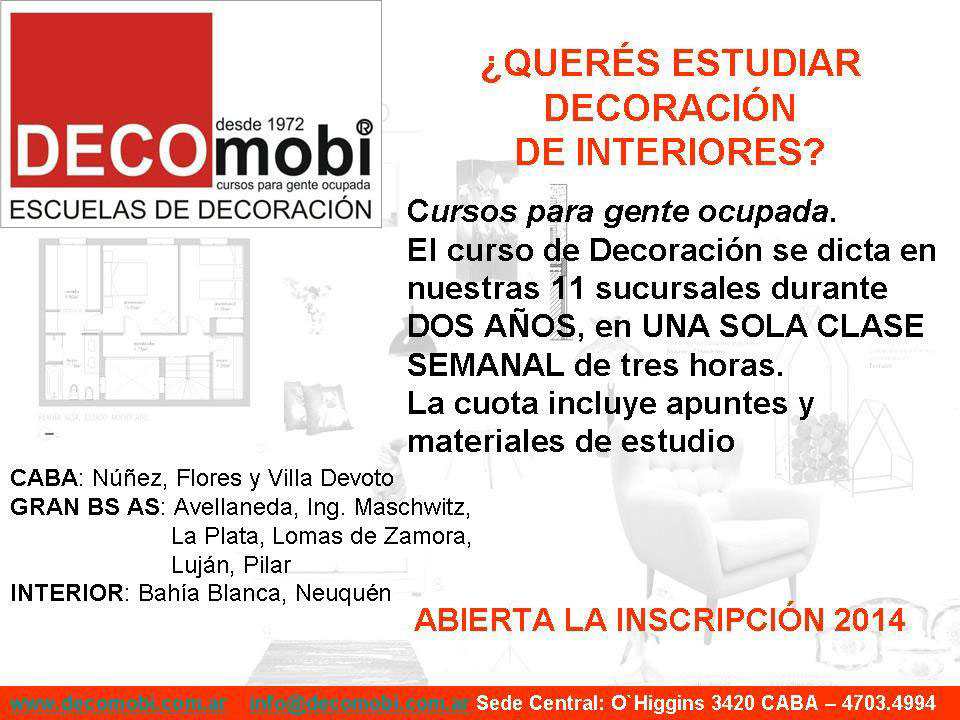 Curso de decoraci n de interiores decomobi 2014 arquimaster for Clases de decoracion de interiores
