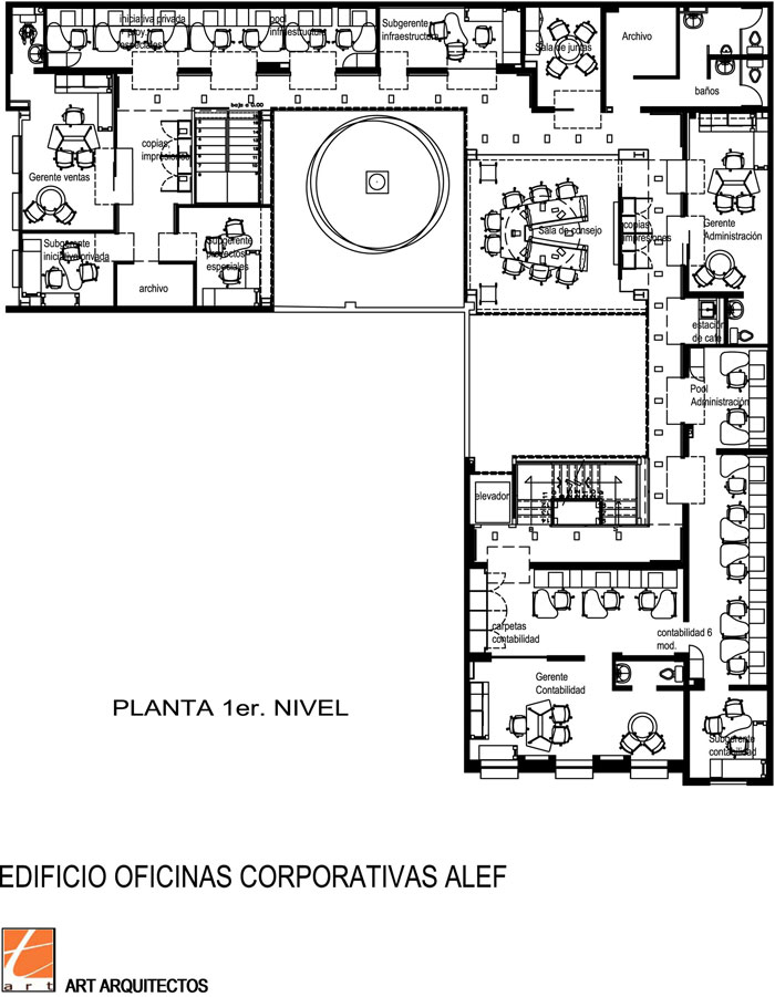 Oficinas corporativas alef art arquitectos arquimaster for Oficinas planta arquitectonica