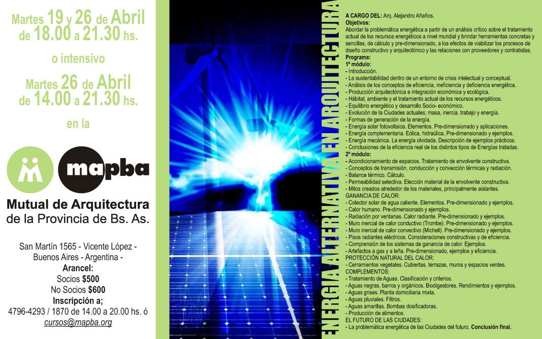 Curso sobre energ a alternativa en arquitectura arquimaster for Aulas web arquitectura